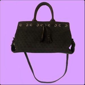 Vintage 90's Dooney & Bourke Black Canvas Logo Bag